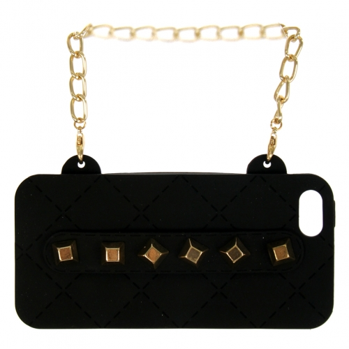 wholesale N38 Studded silicone cell phone case purse Black