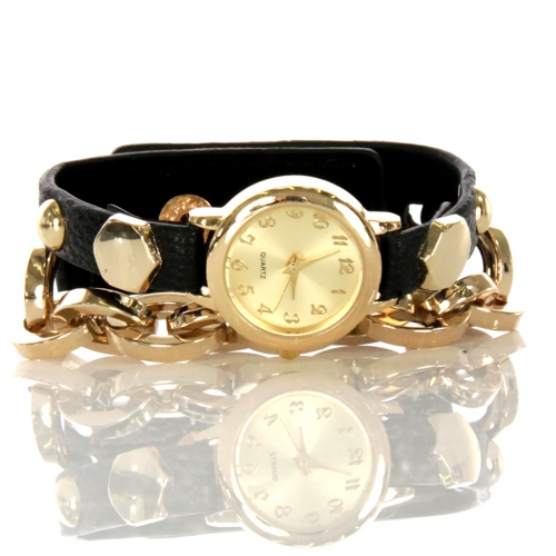 wholesale N37 Studded watch with chain 003 Black