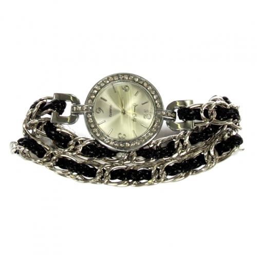 wholesale N37 Braided chain wrap watch 013 Black/Silver