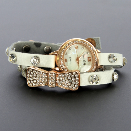 wholesale N37 Crystal studded bow wrap watch 954 Beige