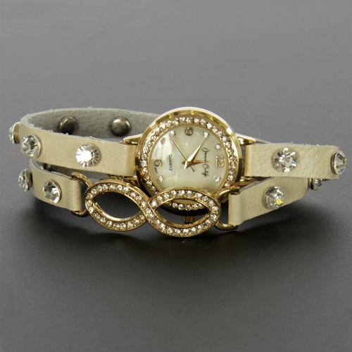 wholesale N37 Crystal studded infinity wrap watch 954 Beige