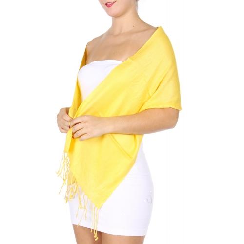 wholesale I02 Solid Pashmina Petite size Yellow