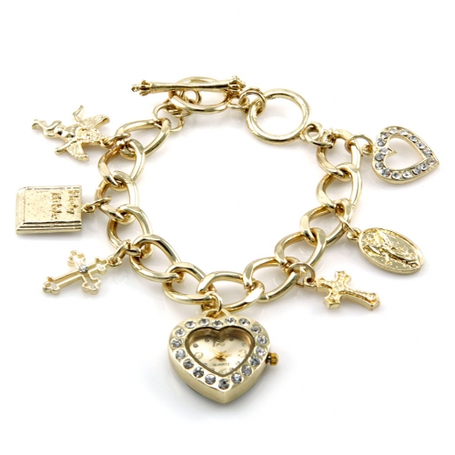 wholesale N37 Mothers charm bracelet watch Gold