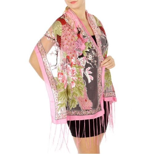 wholesale I49 Peacock flower burnout scarf Black