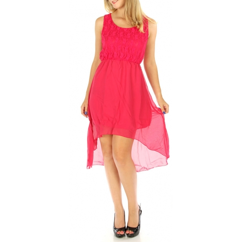 wholesale M04 Lace top hi low Dress Fuchsia