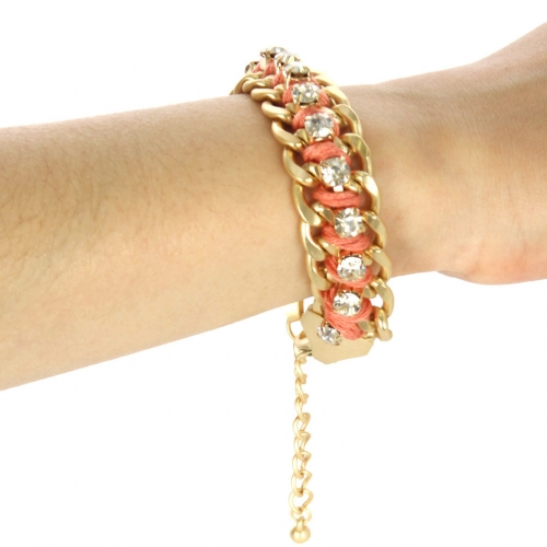 wholesale Color chain and stone bracelet Coral