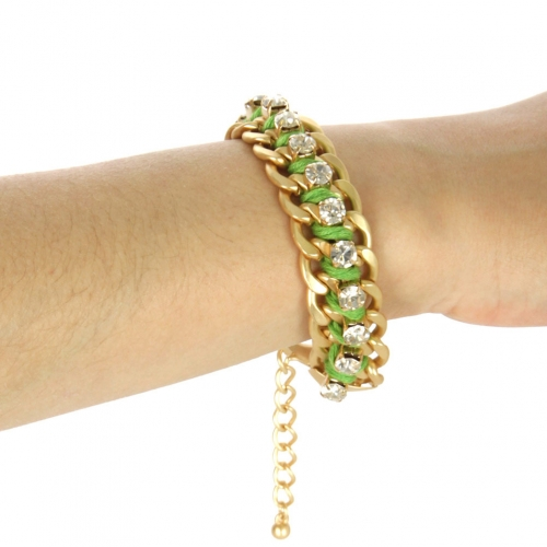 wholesale Color chain and stone bracelet Green