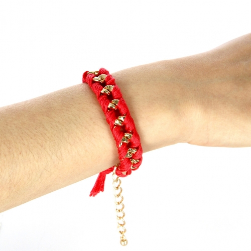 wholesale N38 KB5116-9 Gold metallic-woven threads bracelet Gold/Solid Red