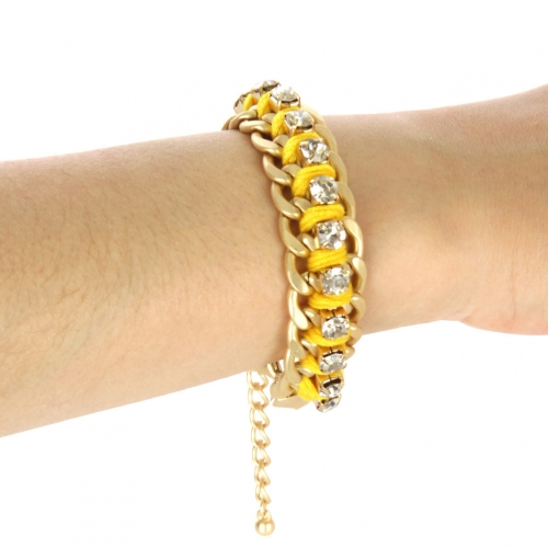 wholesale Color chain and stone bracelet Yellow