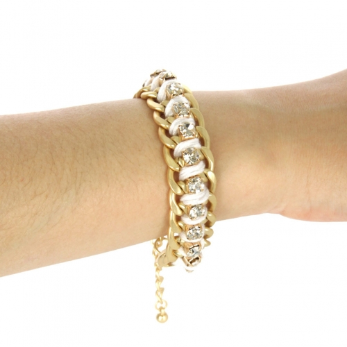 wholesale Color chain and stone bracelet White