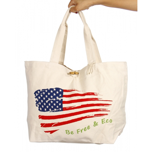 N02 Wholesale Eco canvas bag with American flag Natural