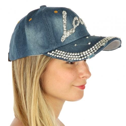 wholesale G22 Jeweled love denim cap Blue fashionunic