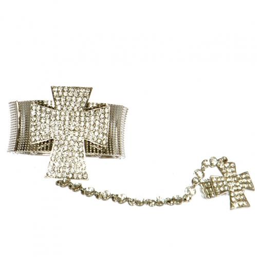 L12 Wholesale Big cross stretch bracelet + Ring Rhodium Clear