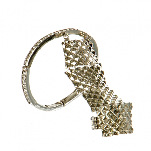 L12 Wholesale Crystal pave bracelet + Ring rhodium Clear