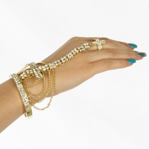 L12 Wholesale Cross bracelet stretch + Ring Gold Clear