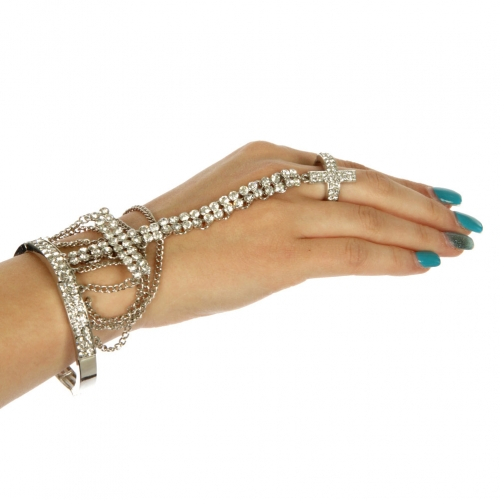 L12 Wholesale Cross bracelet stretch + Ring Rhodium Clear
