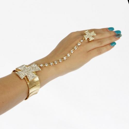 L12 Wholesale Big cross stretch bracelet + Ring Gold Clear