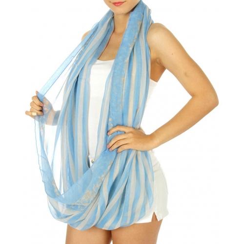 wholesale I16 Flower swril stripe Infinity scarf Blue
