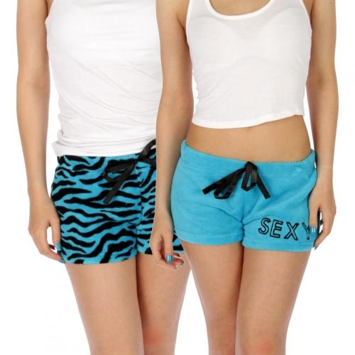 wholesale M04 fluffy shorts Turquoise/Black M
