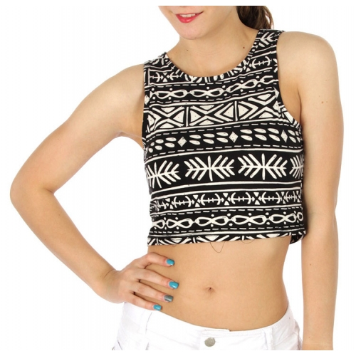 wholesale M06 Large aztec printed crop top Black/White
