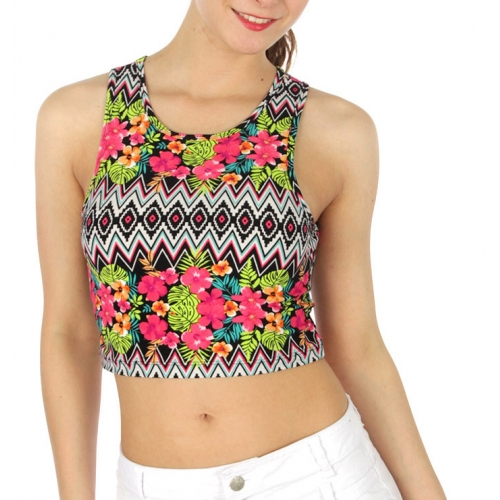 wholesale M06 Flower printed crop short Fuschia/Lime