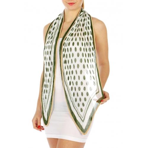 wholesale J04 Pleated dot square scarf Green fashionunic