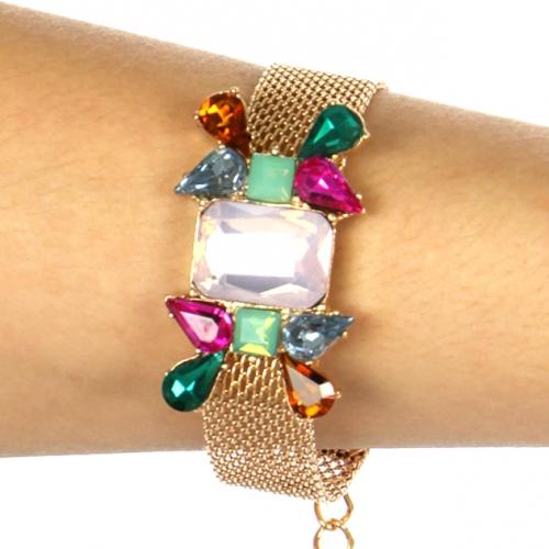 Wholesale L35 Pink stone bracelet Gold/Multi fashionunic