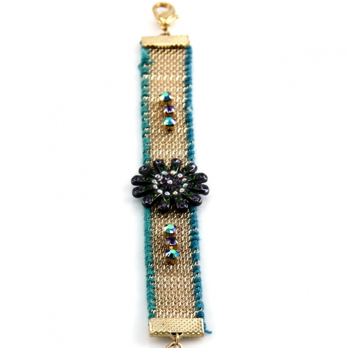 Wholesale L35 Flower beads bracelet Gold/Turquoise
