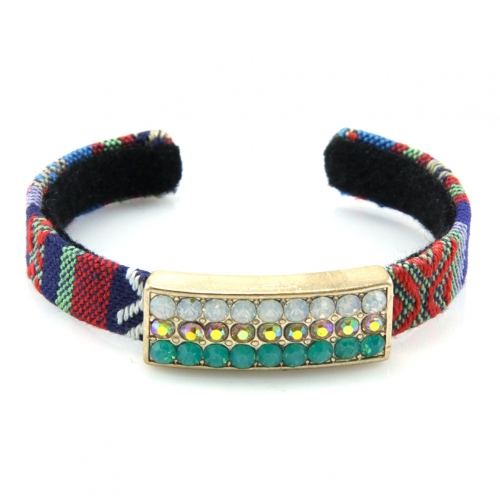 Wholesale L35 Multi stone accent bracelet White/Turqoise/Clear