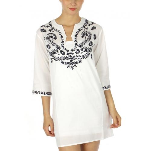 wholesale G28 Serpentine cotton tunic Navy fashionunic
