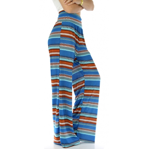 Wholesale B21 Aztec print palazzo pants Blue fashionunic