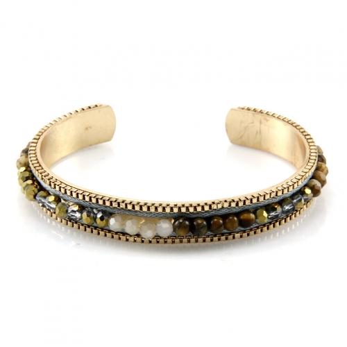 wholesale L35 JCB627-2 Thin beads bracelet Gold/Brown