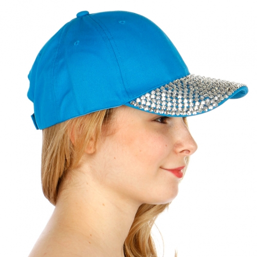 wholesale G01 Silver Rhine stud baseball cap Turquoise