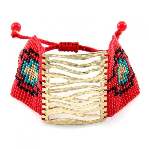 wholesale L35 FB1443-2 Ethnic Bracelet Gold/Coral