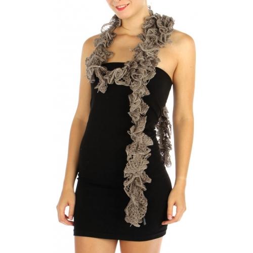 wholesale I49 Stretching lurex ruffle scarf Ivory