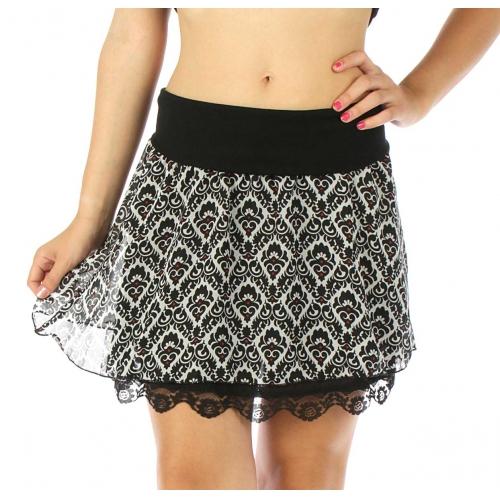 Wholesale A34 Plaid double layer mini skirt BK/WH