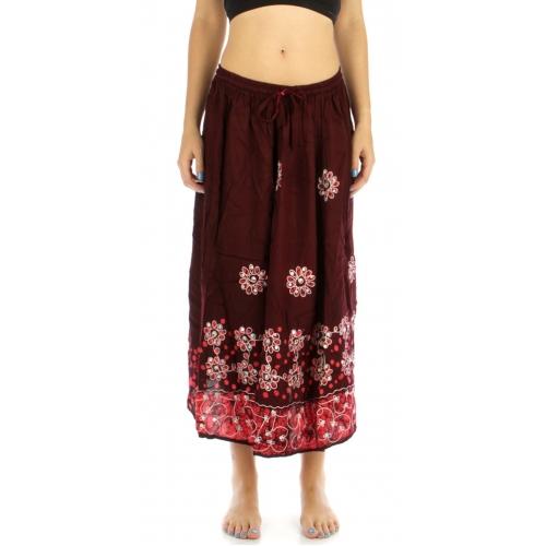 wholesale G27 Flower embroidered batik skirt Brown/Coral