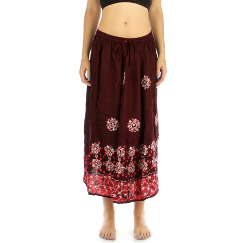 wholesale G27 Flower embroidered batik skirt Brown/Coral