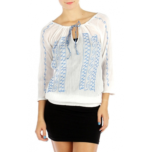 wholesale G27 Embroidered peasant cotton blouse