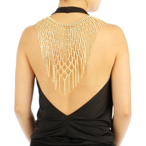 wholesale N35 Stone Large Back Necklace BACK2332GCL