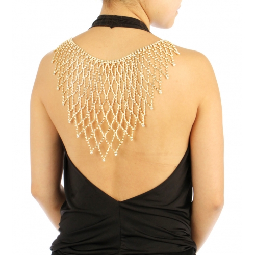 wholesale N35 Stone Large Back Necklace BACK2337GCL