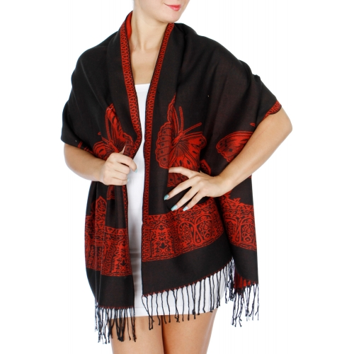 wholesale D25 Butterfly reversible pashmina Black / Red