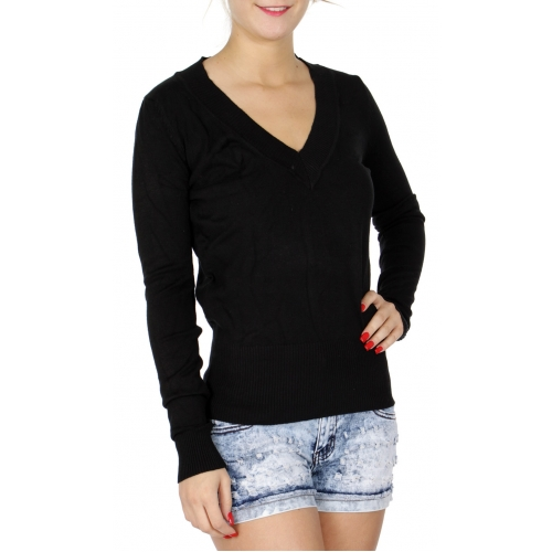 wholesale H16 Long sleeve V neck sweater Black
