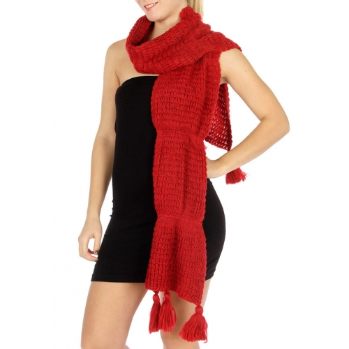 wholesale Curve long knit pompom scarf Red