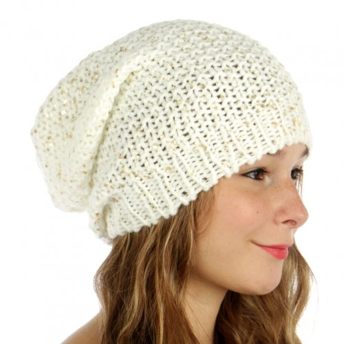wholesale F07 Foiled knit long beanie Ivory fashionunic