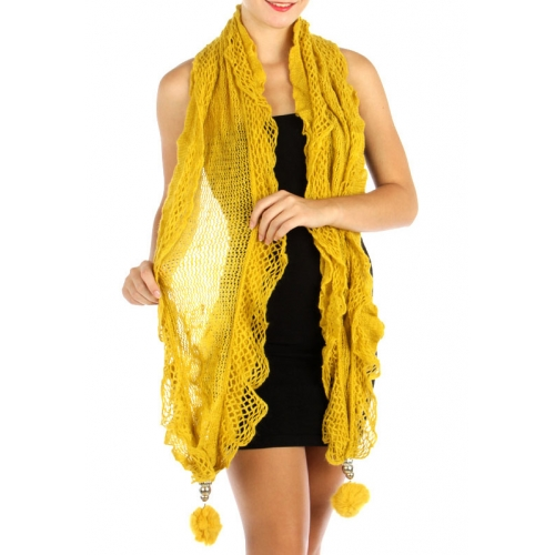 wholesale L37 Stretching lurex ruffle scarf Pompom MD
