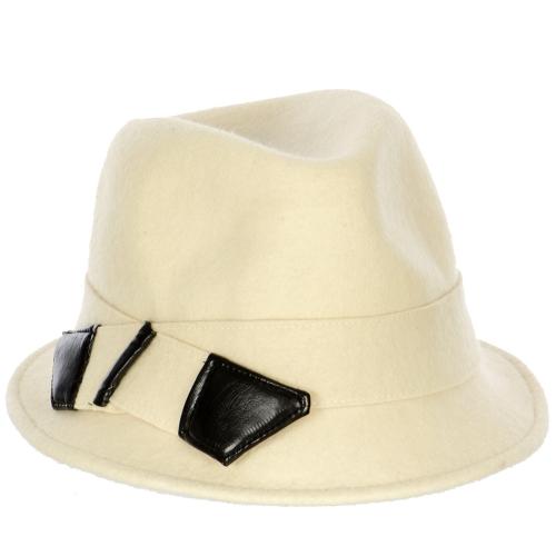 wholesale V73 Leather band Wool felt fedora hat Ivory
