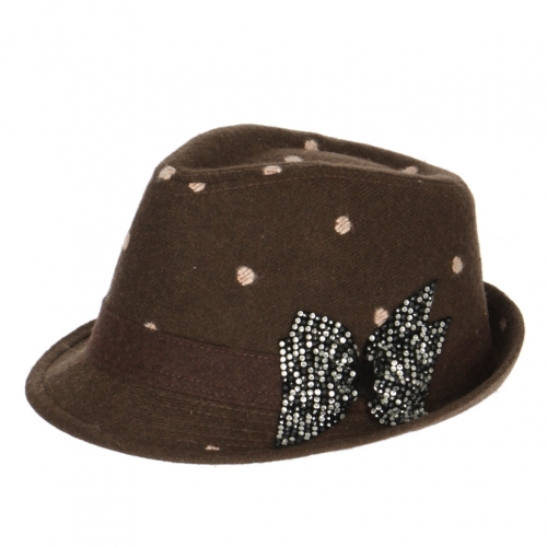 wholesale W24 Rhinestone bow polka dot fedora hat Brown