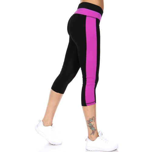 wholesale A05 Color panel workout capri leggings Blue