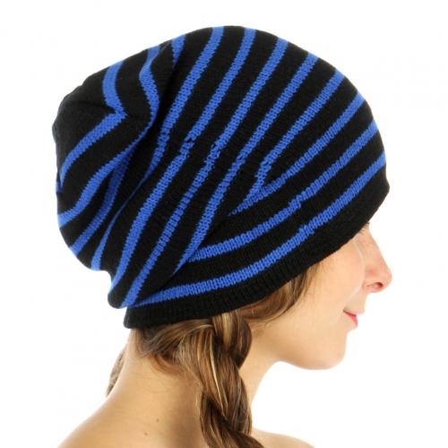 wholesale O20 Neon stripe long beanie Blue fashionunic